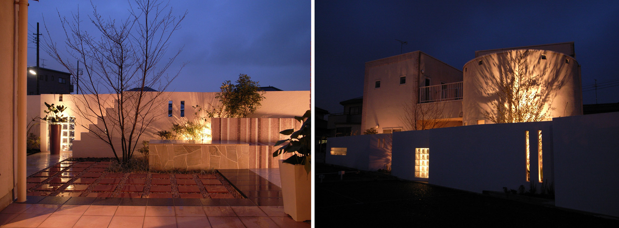 変形敷地の外構工事、外構・お庭工事後の姿。(夜のライティング)