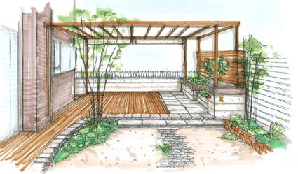 お庭(ガーデン)デザインのスケッチ