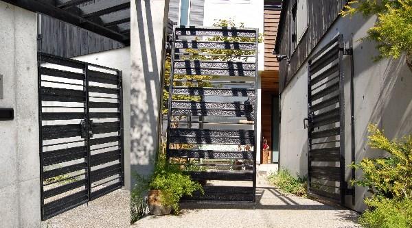 コンクリート打ち放しと調和する外構(エクステリア)門扉