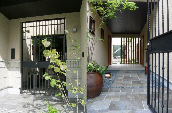 建物の一体化したFIX外構(エクステリア)特注品門扉
