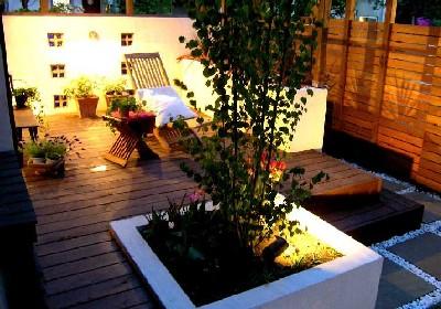 世田谷区奥沢のお庭(ガーデン)&外構エクステリアリフォーム、夜景が美しい。