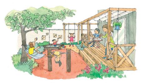 庭で様々な遊具で遊ぶ子供たち